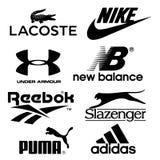 Собрание логотипов ботинка напечатанных на белой бумаге бесплатная иллюстрация