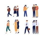 Собрание людей и женщин злословя, распространяя слухов, говорить и шептать Пачка смешных персонажей из мультфильма иллюстрация штока