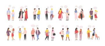 Собрание людей и женщин стоя и говоря, говорящ, беседующ, поставляющ устные изолированные сообщения друг к другу иллюстрация вектора