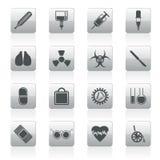Собрание медицинских тематических значков и предупредительных знаков Стоковые Фото