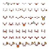Собрание милой симпатичной стороны шаржа Doodle emoji смайлика Стоковое Изображение RF