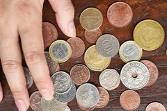 Собрание монетки с старыми монетками Стоковые Изображения