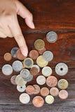 Собрание монетки с старыми монетками Стоковое фото RF