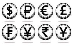 Собрание монеток с черными символами валюты также вектор иллюстрации притяжки corel бесплатная иллюстрация