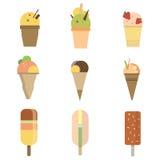 Собрание мороженого 9 значков иллюстрация штока