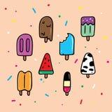 Собрание мороженого Popsicle руки вычерченное иллюстрация вектора