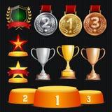 Собрание наград и трофеев вектора Золотые значки и ярлыки Дизайн чемпионата 1-ое, 2-ое, 3-ее место золотисто иллюстрация вектора
