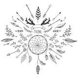 Собрание нарисованное рукой племенное с луком и стрелы Стоковые Фотографии RF