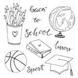 Собрание нарисованное рукой с значками канцелярских принадлежностей школы Комплект doodle вектора задняя школа к иллюстрация вектора