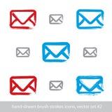 Собрание нарисованных вручную простых значков почты вектора, комплект Стоковые Изображения