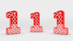 собрание номера украшения 3d красное - 1 Стоковое Фото
