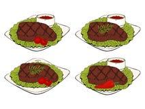 Собрание объектов BBQ установите элементов барбекю, стейка иллюстрация штока