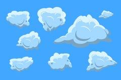 Собрание облака установленное на голубую предпосылку Плоский вектор дизайна Стоковые Фото