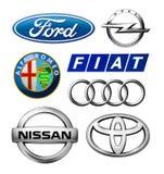 Собрание логотипов различных брендов автомобилей стоковая фотография rf