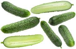 Собрание огурца vegetable на белизне Стоковые Изображения RF