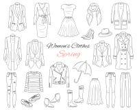 Собрание одежд женщин Обмундирование весны также вектор иллюстрации притяжки corel Стоковые Фото
