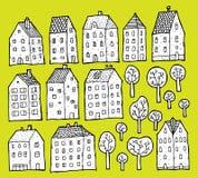 Собрание домов и деревьев Стоковая Фотография RF