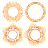 Собрание оранжевых круглых декоративных рамок границы Стоковые Изображения RF