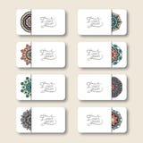 Собрание орнаментальных флористических визитных карточек, Стоковое Изображение