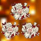 Собрание открытки Нового Года и рождества Стоковая Фотография RF