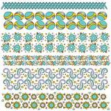 Собрание отделки или границы с цветками, сердцами и звездами Стоковое Изображение RF