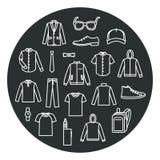 Собрание одежд и аксессуаров людей Стоковое Изображение