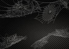 Собрание паутины, изолированное на черной, прозрачной предпосылке бесплатная иллюстрация