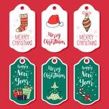 Собрание поздравительной открытки рождества и Нового Года при нарисованная рука Стоковая Фотография