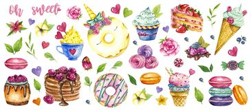 Собрание помадок акварели, покрашенный набор десерта иллюстрация вектора