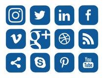 Собрание популярных социальных логотипов средств массовой информации Стоковое фото RF