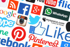 Собрание популярных социальных логотипов средств массовой информации Стоковая Фотография RF