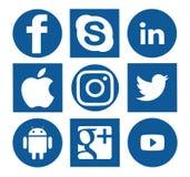 Собрание популярных социальных логотипов средств массовой информации иллюстрация вектора