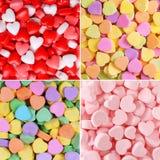Собрание предпосылки конфеты сердца красный цвет поднял стоковое изображение rf