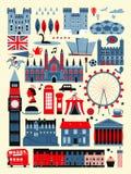 Собрание привлекательностей Великобритании иллюстрация штока