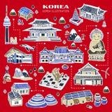 Собрание привлекательностей Кореи иллюстрация вектора