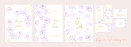 Собрание приглашения свадьбы флористическое иллюстрация штока