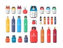 Собрание промышленных цилиндров сжатого газа или танков различного размера и цвета изолированных на белой предпосылке иллюстрация штока