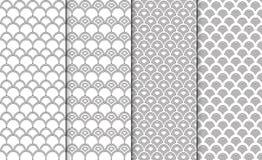 Собрание простых линейных черно-белых геометрических текстур картины 4 установленной предпосылки Безшовный повторяя китаец Стоковое фото RF