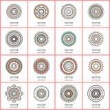 Собрание 16 простых мандал Круглый комплект картины орнамента Стоковые Изображения