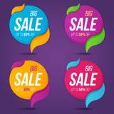 Собрание продажи обозначает стикеры знамен ценников значками Стоковое Изображение