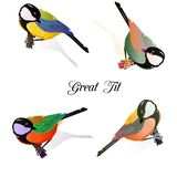 Собрание птиц, синица на ветви дерева r иллюстрация штока