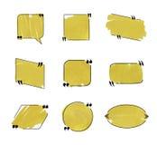 Собрание пузырей речи вектора, черные линии и золотая расцветка отметки, установленные рамки иллюстрация вектора
