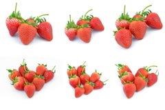 Собрание плодоовощей клубники различное форменного аранжированного внутри Стоковые Изображения