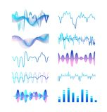 Собрание различного градиента покрасило сигналы звуковых войн, аудио или акустических электронные изолированные на белой предпосы иллюстрация вектора
