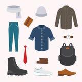 Собрание различной носки и ботинок на холодный сезон Взгляд осени людей Одежда в плоском дизайне стиля иллюстрация вектора