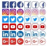 Собрание различных популярных социальных значков средств массовой информации стоковое изображение