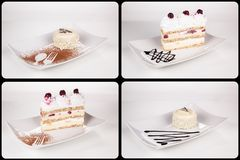 Собрание различных тортов на белой предпосылке каждое одно sho Стоковые Изображения