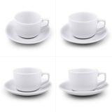 Собрание различных белых кофейных чашек на белой предпосылке. каждое одно снято отдельно Стоковые Фото