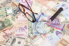 Собрание различных денег, предпосылки Стоковая Фотография RF