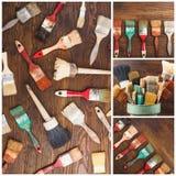 Собрание различных кистей, деревянная предпосылка Стоковые Фотографии RF